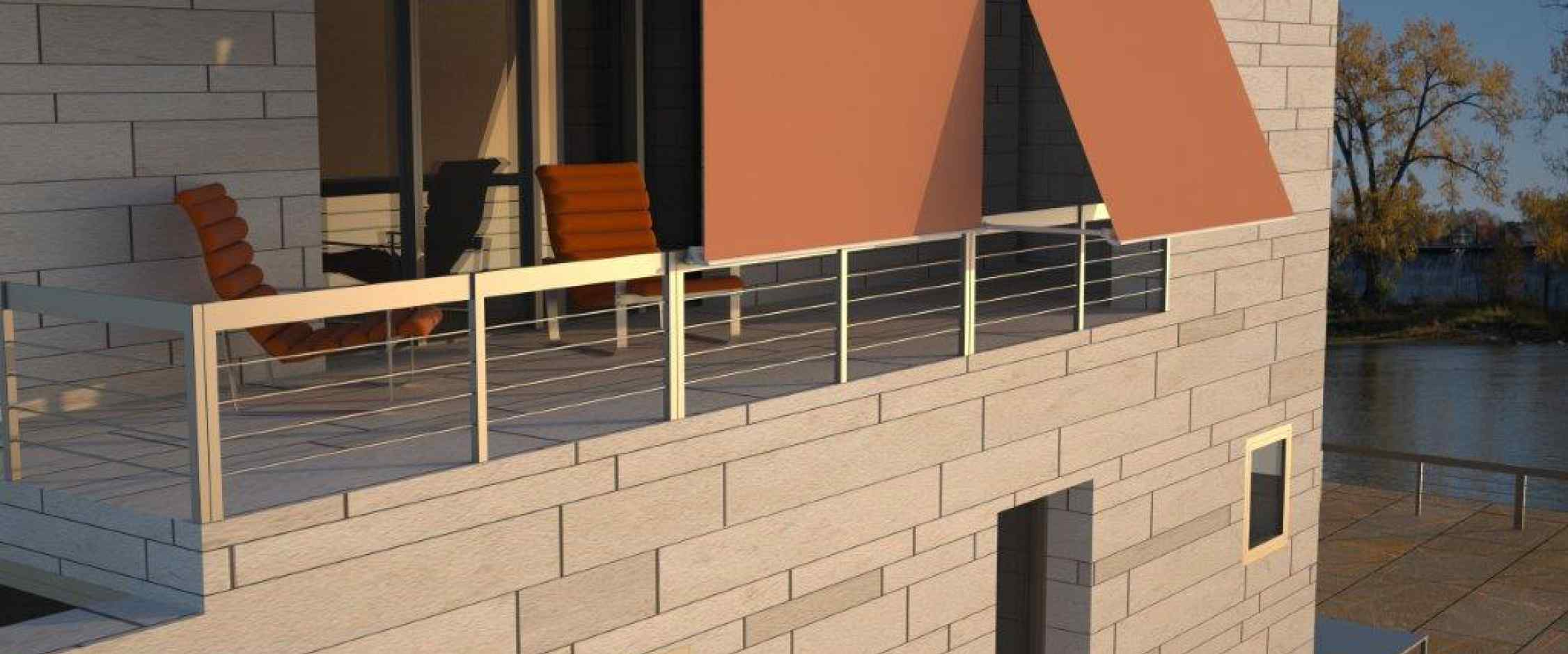 Toldo sistema brazo stor con cofre de protección Desert especifico para terrazas con baranda funcionamiento manual o eléctrico.
